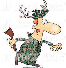 sports clip art of a cartoon white male deer hunter wearing
