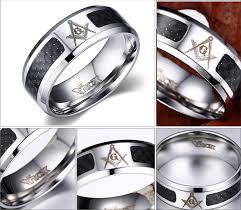 Stainless Steel Wedding Rings by Een Gears Cool Unisex Masonic Rings