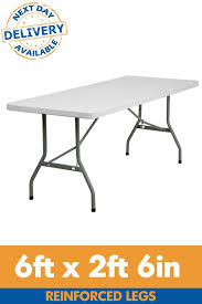 6 plastic folding table 6ft x 2ft 6in reinforced leg rectangular plastic folding table