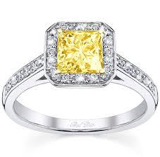 engagement rings square images Square yellow diamond engagement ring jpg