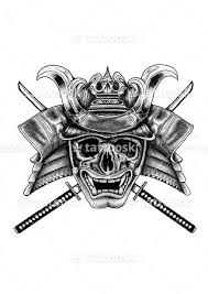black and grey samurai skull with two cross swords tattoo design