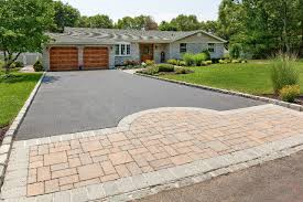 decorative concrete driveway with contrasting border and bands