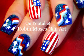 4th of july nail art design tutorial youtube