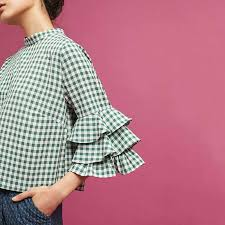 houndstooth blouse naper checkered houndstooth plaid flounced blouse green in