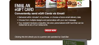 email gift certificates restaurant gift cards quiznos egift cards and plastic gift cards