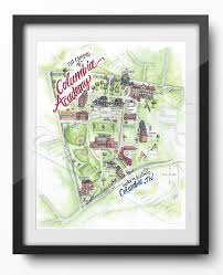 Uh Campus Map Columbia Academy Campus Map Illustration Poster Print 11x14