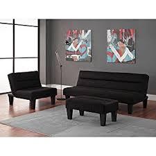 Amazoncom Black Pc Modern Futon Sofa Living Room Furniture - Futon living room set