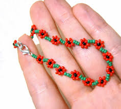 make friendship bracelet beads images Poppy friendship bracelet beaded poppy bracelet seed bead jpg
