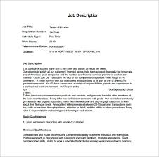 Teller Duties For Resume Pca Job Description Teller Job Bank Teller Job Description Wells