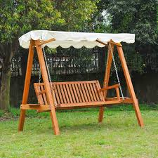 outsunny 3 seater wooden garden swing chair seat bench cream