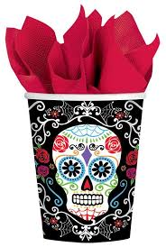 Halloween Cups Day Of The Dead Tableware Halloween Mexican Skeleton Party