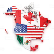Map Of Usa And Mexico north america map with flags of usa canada and mexico stock photo
