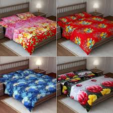 tso set of 4 micropeach 3d doublebed bedsheets with 8 pillow