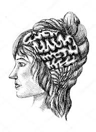 sketch of human brain and a woman u0027s face painted in scrawl style