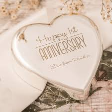 1st anniversary gifts engraved heart shaped paperweight happy 1st anniversary
