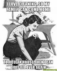 Clean House Meme - i love cleaning so my family can come home to a clean house then