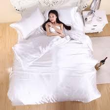 White Silk Bedding Sets Color Luxury Silver Satin Silk Bedding Set 3 4pcs Bed Sheet