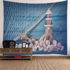 fishing net conch lighthouse print wall tapestry blue w inch l fishing net conch lighthouse print wall tapestry blue w51 inch l59 inch