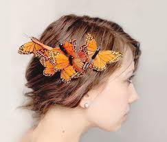 butterfly hair butterfly hair comb whimsical butterfly accessory orange