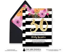 black u0026 white birthday invitation stripe gold glitter 30th 21st