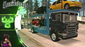 volvo sa trucks scania p420 car transporter gta san andreas truck mod youtube