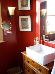 pretty red bathroom designs with white porcelain square vessel