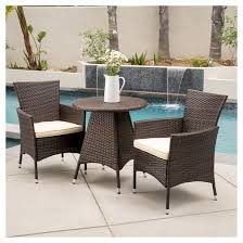 Dining Chairs With Cushions Melissa 3 Piece Wicker Patio Bistro Set With Cushions Brown