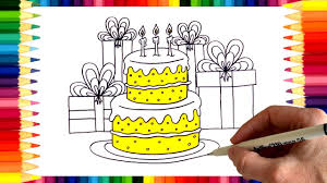 how to draw a birthday cake and birthday presents coloring page