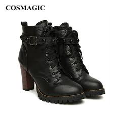 buckle motorcycle boots aliexpress com buy cosmagic 2017 new winter women black high