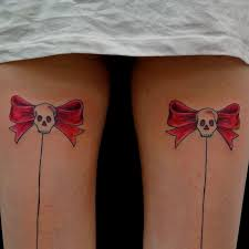 red cherry skull with bow tattoos in 2017 real photo pictures