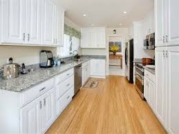 white galley kitchen ideas spacious light bamboo wood floors with white cabinets kitchen in
