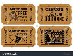 admit one home theater vector set vintage paper ticket admit stock vector 412921330