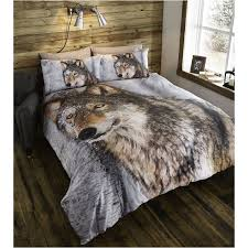 Amazon Bedding Double Duvet Cover U0026 Pillowcases Bedding Bed Set Brown Wolf Animal