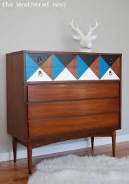 Painted Geometric Mid Century Dresser Hometalk - Midcentury furniture