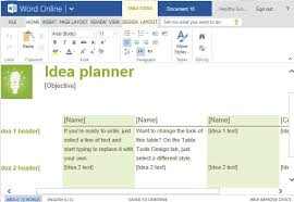 idea planner template for word online