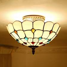 Stained Glass Ceiling Light Mediterranean Uplight Stained Glass Ceiling Light