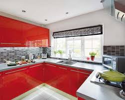 red kitchen cabinets and gray wall design red and grey kitchen