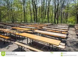 Beer Garden Tables by Empty Beergarden Tables In The English Garden In Munich Stock