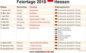 Kalender 2018 Hessen Brückentage Feiertage Hessen 2017 2018 2019 Mit Druckvorlagen