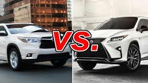 is lexus toyota toyota highlander vs lexus rx 350 carsdirect
