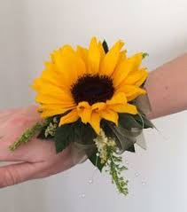 sunflower corsage sunflower wrist corsage maybe a bit smaller burlap not that