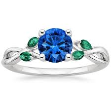 saphire rings sapphire willow ring with lab emerald accents in 18k white gold