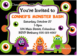 Halloween Party Poem Kids Monster Bash Halloween Costume Party Invitation Card Verses
