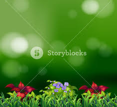 Beautiful Flowers Image Green Grass And Beautiful Flowers With Green Background Royalty