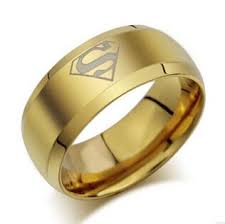 beveled ring titanium steel comfort fit smooth surface superman wedding band