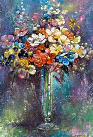 Glass Vase Painting Glass Vase With A Bunch Of Flowers Stock Photo Picture And