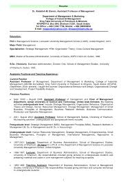 Undergraduate Sample Resume Sample Resume Of Assistant Professor Resume For Your Job Application