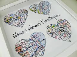 Heart Map Personalized Gift For Couple Wedding Map Heart Map Gift