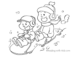 sledding coloring pages winter sledding coloring page free