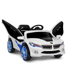 toddler battery car kids ride on car w remote control blue white clickwiseshop